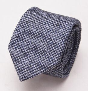 New $225 BATTISTI NAPOLI Slim Heather Gray-Blue Houndstooth Wool Tie w/ Gift Box