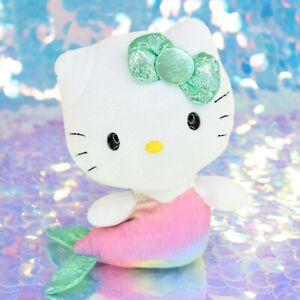 HELLO-KITTY-MERMAID-Rainbow-Green-7-034-Plush-Stuffed-Animal-2014-Ty-Sanrio-BI956