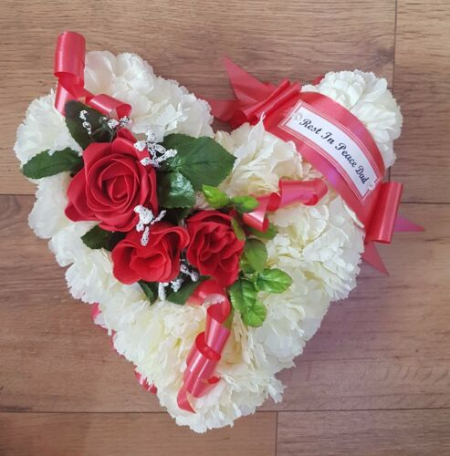 Heart Shaped Artificial Silk Flowers Funeral Wreath Memorial Dad