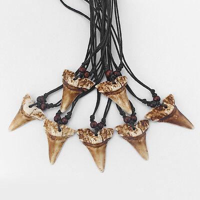 12pcs Ethnic Tribal Imitation Animal Tooth Teeth Pendant Amulet Necklace