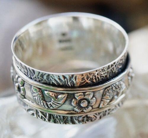 Drehring Silber Breit Spinring 54 58 Silberring Verspielt Floral Fische Vintage