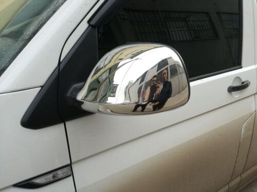 VW T5 TRANSPORTER 2010-2015 COPERTURA SPECCHIO CROMATA COMPLETA 2Pcs ACCIAIO INOX