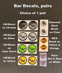 MCS /& CW BAR CHOOSE 1 CROSSBAR /& SEAT POST Decals-Diamond Back Nomura Race