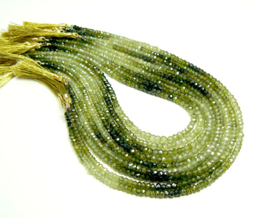 Grade AAA Natural Faceted Green Zircon Rondelles 10.5-inch strand 2-3 to 3-4mm