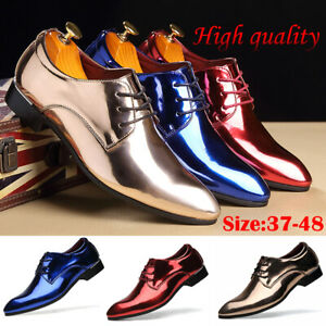 Men-039-s-Formal-Dress-Bright-Leather-Shoes-Pointed-Lace-Up-Oxfords-Wedding-Business