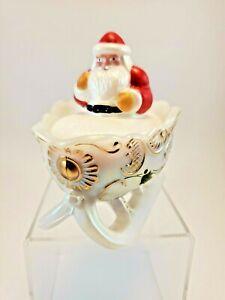 Mosser-Art-Glass-Santa-Christmas-Sleigh-Covered-Candy-Dish