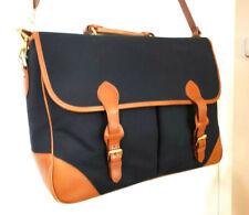 33691a52ce4 Brooks Brothers Black Canvas Tan Leather Trim Laptop Messenger Bag  Briefcase NWD
