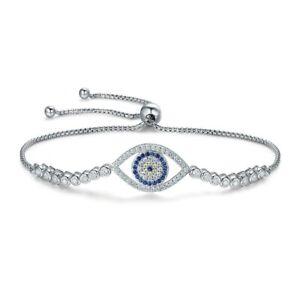 Détails sur Bracelet Femme Oeil orné de Cristal de Swarovski Blanc et bleu  et Argent 925/