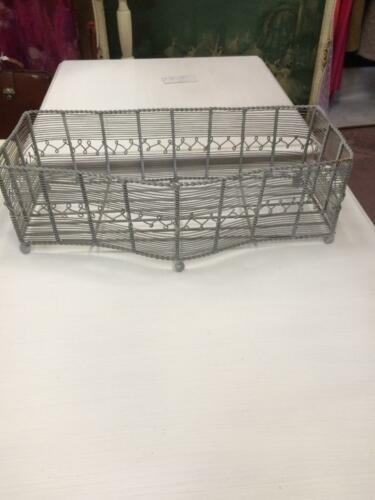 VINTAGE FRENCH STYLE GREY PAINTED METAL LARGE WIRE FOOTED BASKET TROUGH