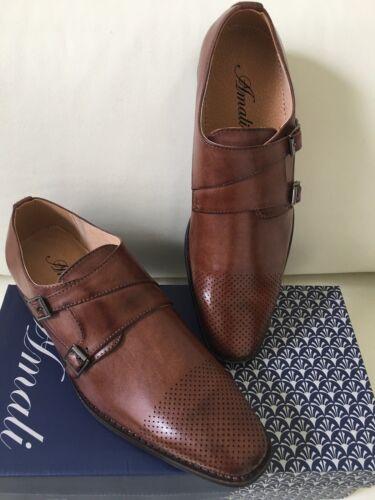 Amali Mens Dress Shoes Lofer Slip One Double Strap Wedding Prom Office Shoes.