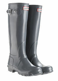 Hunter Original Ladies Gloss Gloss Gloss Graphite Wellies UK3-8 86dfee