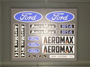 TAMIYA-1-14-FORD-AEROMAX-56309-CHROME-REFLECTIVE-stickers-logos-mudflaps-set