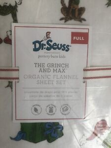 POTTERY-BARN-Kids-Dr-Seuss-s-The-Grinch-amp-Max-Flannel-Sheet-Set-TWIN-NWT
