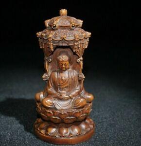 Collect Old Boxwood Japanese Netsuke carved Sakyamuni buddha Statue figurines
