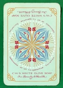 Playing-Cards-1-Swap-Card-Old-Vintage-Wide-C-W-S-WHITE-OLIVE-SOAP-AD-Art-Flower