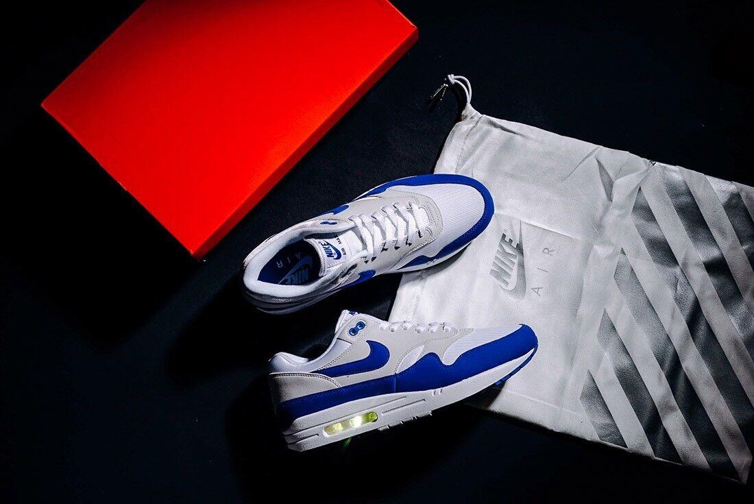 Nike Air Max 1 Anniversary Royal bluee Sz 9.5 908375-101 atmos safari red master