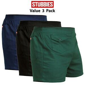 Mens-Stubbies-Original-Work-Short-Shorts-3-PACK-Elastic-Back-Cotton-Drill-SE2010
