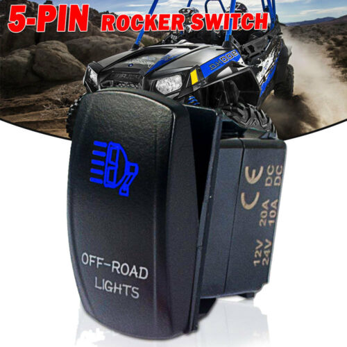 Rocker Switch OFF-ROAD LIGHTS With Blue 5 Pin 12 Volts 40 Amp LED Lights