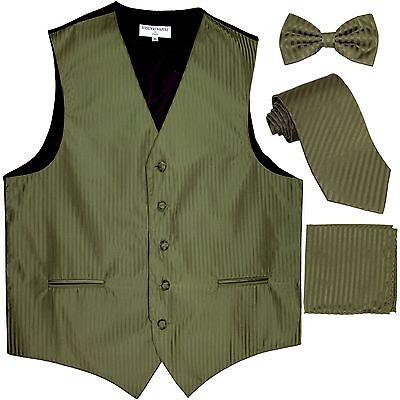 New Men's stripes Tuxedo Vest Waistcoat & necktie & Bow tie & Hankie olive green