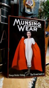 OLD-Munsingwear-Porcelain-Sign-look-at-my-other-neon-signs-amp-clock-clothing