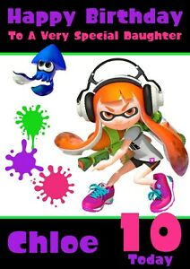 personalised birthday card Splatoon any name//age//relation