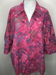 Women-s-Catherines-2X-Pink-Blue-3-4-Sleeve-Top-Blouse-Plus-Size