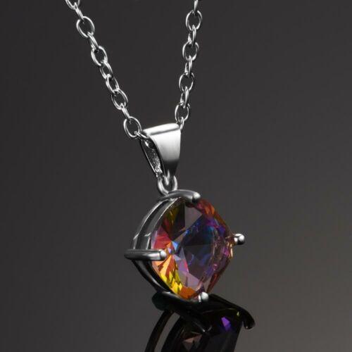 Charm 925 Silver Mystic Rainbow Topaz/&Aquamarine Multi-Color Pendant Necklace!!
