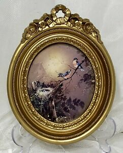 VTG-Homco-Oval-Gold-Ornate-Roses-Resin-Frame-Birds-Hollywood-Regency-3279-USA-9