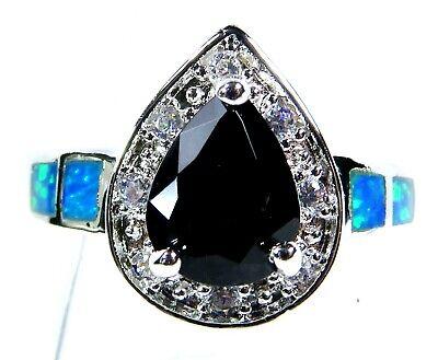 Silver 925 SF Size 9 Ring Blue Lab Fire Opal /& 10*8mm Black Onyx