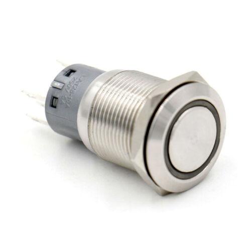 19mm Schalter aus Edelstahl mit LED-Leuchtring 220V grün 230V//5A
