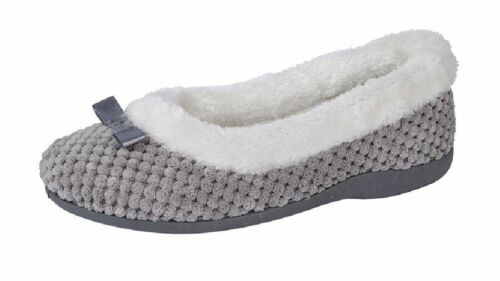 Sleepers Ladies Bow faux fur collar Slip on slippers Style LS359F Colour Grey