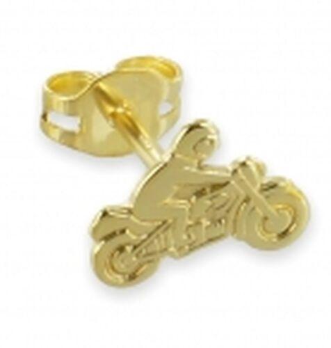 Single Einzel Motorrad Ohrstecker 333 Gold  Biker Herren Kinder