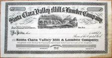 1870 Stock Certificate: 'Santa Clara Valley Mill & Lumber Co.' - San Jose, CA