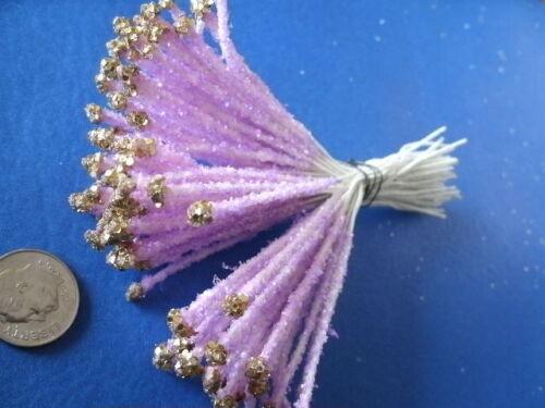Vintage Millinery Flower Stamen GoldTip Lavender Bunch Trim for Hat EB4