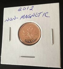 EXTREMELY RARE 2012 NON-MAGNETIC CANADIAN PENNY LOW MINTAGE NEW FROM MINT ROLL