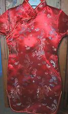 Girls Oriental Chinese Kimono Style Red Dragon Print Dress 10-12 yrs