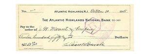 Carreaux 1915 Pour J. W. Mount & Compagnie ~ Atlantic Écosse Banque N.J Fr / Shi