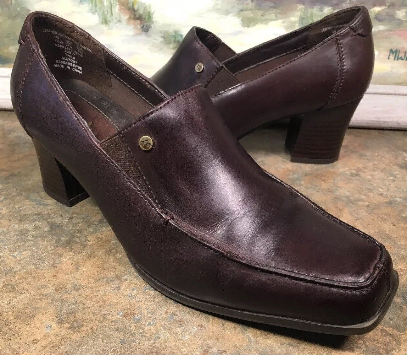 Thom McAn Brown Womens Loafer Size 7W Brown McAn Leather Block Heel Thea 30017 660ec8