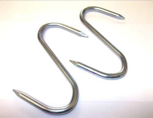 "Silver. Anti rust Zinc plated 20 x 3/"" Steel S Hooks Slim pointed Butchers"
