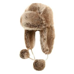 13963bd596fe1 Kids Winter Hat Childs Trapper Brown Faux Fur Ski Russian Ushanka ...