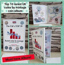 TOP 10 UK RAREST COINS ALBUM - for Kew Gardens 50p etc. with mintage! NO COINS