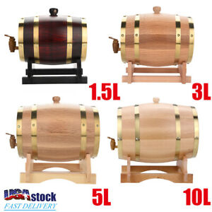 NEW-Party-Wine-Dispenser-Oak-Barrel-1-5-3-5-10-Liter-Oak-Keg-Barrel-Rum-Whiskey
