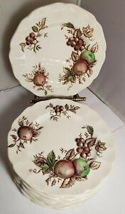 Vintage-Set-of-12-Johnson-Brothers-Harvest-Time-Bread-Plates-apples-grapes-EUC