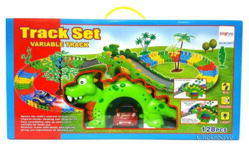 Kids Dinosaur Variable Assemble Freely Track Set Toy With Light /& Sound 128pc