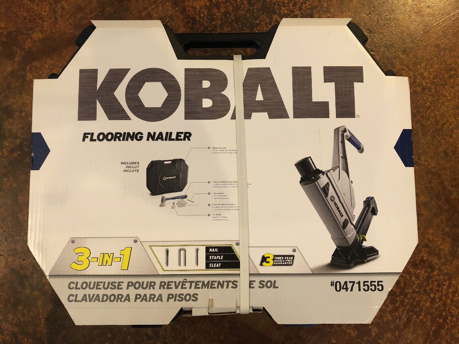 KOBALT 3-IN-1 FLOORING NAILER  NEW IN PACKAGE FREE SHIPPING   STAPLER CLEAT NAIL