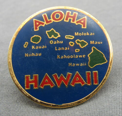 Aloha Hawaii Gold Tone Souvenir Travel Hat Memorabilia Pin Pinback Islands Map