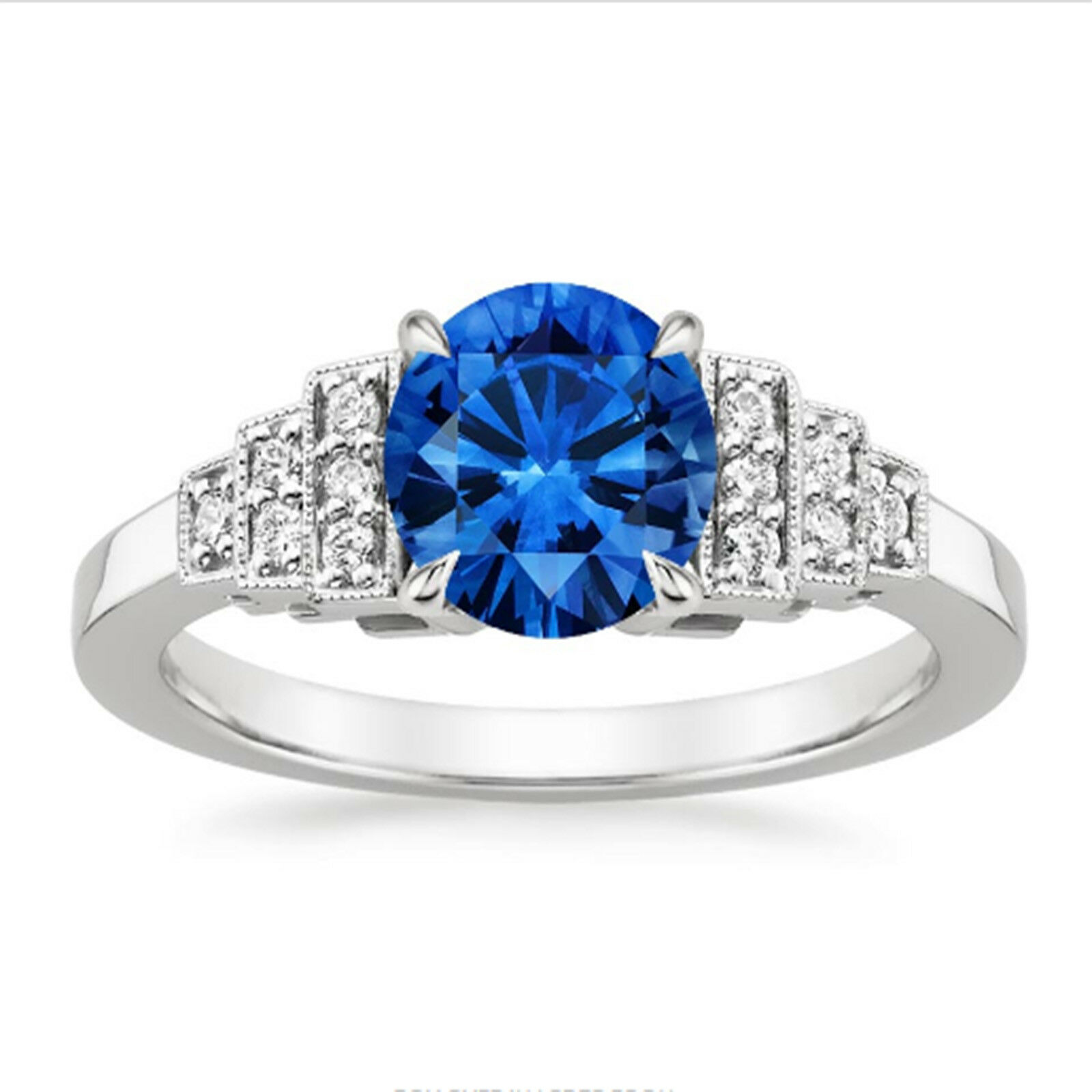 1.50 Ct bluee Sapphire Wedding Ring 14K Solid White gold Diamond Rings Size 6 6.5