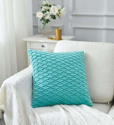 Textured Velvet Vintage Throw Pillow Cover Light Teal
