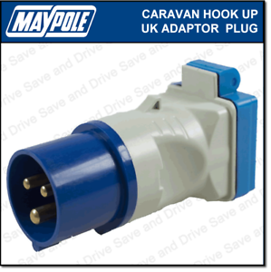 Maypole Caravan 230V 16A Hook Up UK Mains Adaptor Plug /& Socket Electrics MP3758