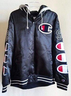 butik försäljning obesegrad x affär Supreme Champion Hooded Satin Varsity Jacket FW18 BLACK MENS Size ...